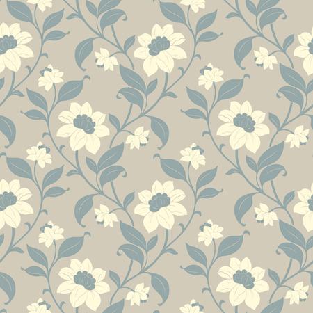 Elegance Seamless pattern con fiori, illustrazione vettoriale floreali in stile vintage Vettoriali