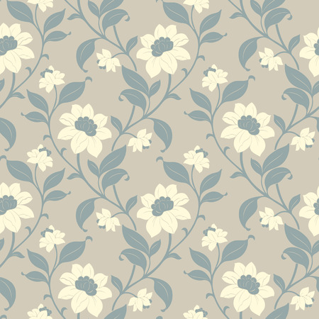seamless floral: Elegance Seamless pattern with flowers, vector floral illustration in vintage style