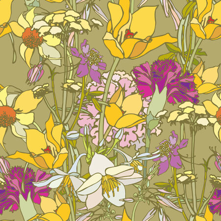 Elegance Seamless pattern with flowers, vector floral illustration in vintage style Stock Vector - 24900181