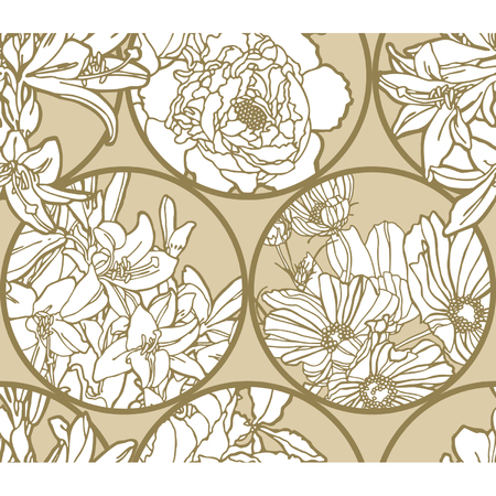 Elegance Seamless pattern with flowers, vector floral illustration in vintage style Stock Vector - 24898792