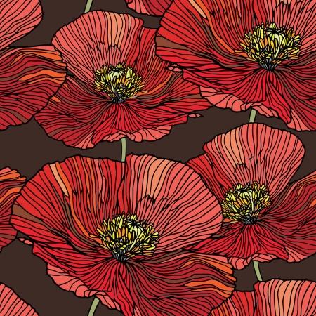 Elegance Seamless pattern con fiori di papavero, illustrazione vettoriale floreale in stile vintage