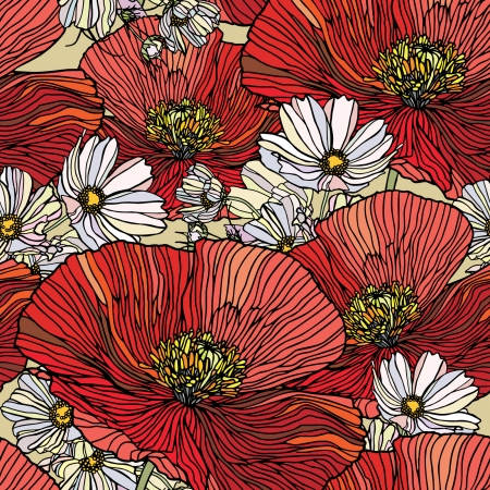 Elegance Seamless pattern with poppy flowers, vector floral illustration in vintage style Vector