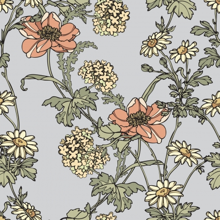優雅さとケシの花、シームレスなパターン ベクトル ビンテージ スタイルの花のイラスト