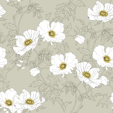 Elegance Seamless pattern with poppy flowers, vector floral illustration in vintage style Illustration