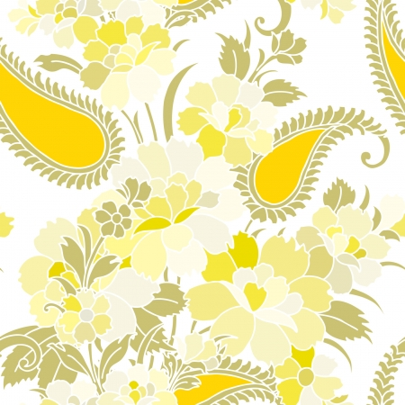 Elegance Seamless pattern with flowers roses, vector floral illustration in vintage style