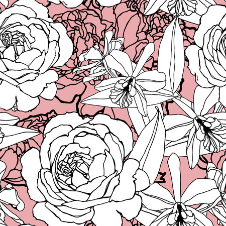 Elegance Seamless pattern with flowers roses, vector floral illustration in vintage style Stock Vector - 24894803
