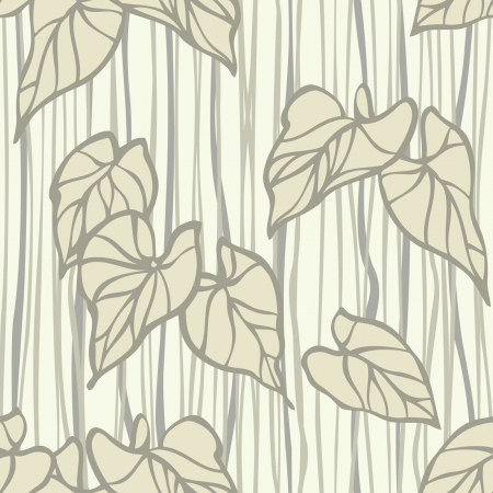 Elegance Seamless pattern with leaf ornament, vector floral illustration in vintage style Vector