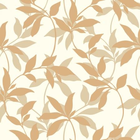 葉飾り、ビンテージ スタイルのベクトル花のイラストとエレガントなシームレス パターン  イラスト・ベクター素材