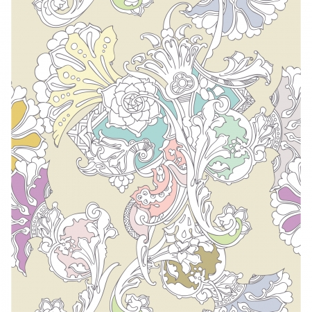 Elegance Seamless pattern with ornament, vector floral illustration in vintage style