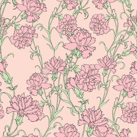 carnations: Elegance Seamless pattern with flowers carnations, vector floral illustration in vintage style