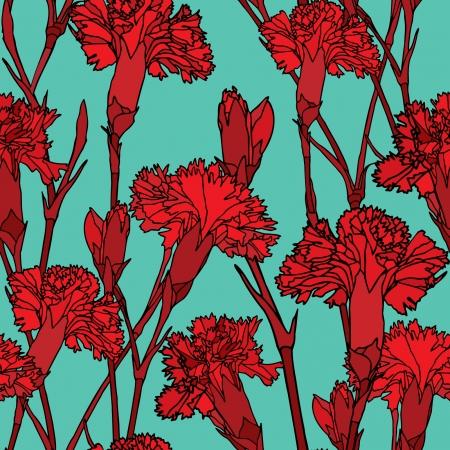 Elegance Seamless pattern con fiori di garofani, illustrazione vettoriale floreali in stile vintage