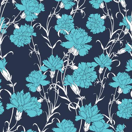 claveles: Elegancia Patr�n sin fisuras con flores claveles, ilustraci�n vectorial floral en estilo vintage Vectores
