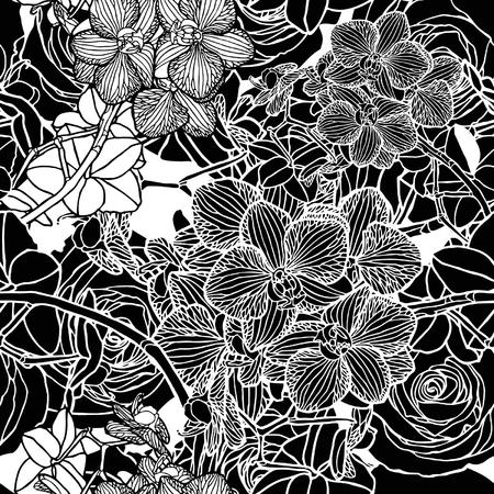 Elegance Seamless pattern with flowers orchids, vector floral illustration in vintage style Vector