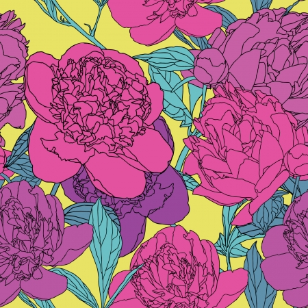 Elegance Seamless pattern with flowers peonies Stock Vector - 24913008