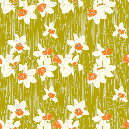 Elegance Seamless pattern with flowers narcissus Stock Vector - 24912827