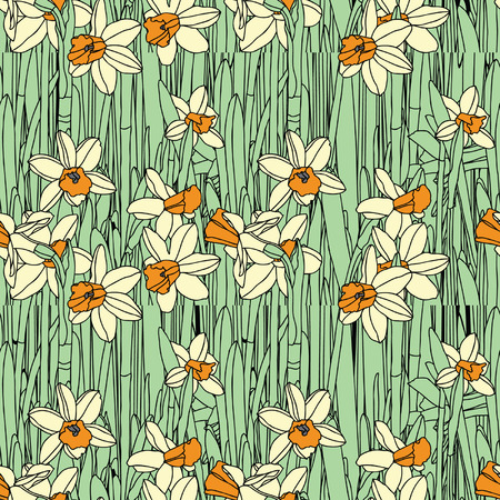 Elegance Seamless pattern with flowers narcissus Stock Vector - 24912833