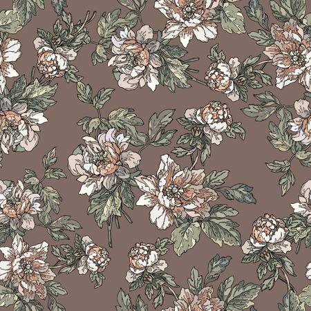 eglantine: Elegance Seamless pattern with flowers rose