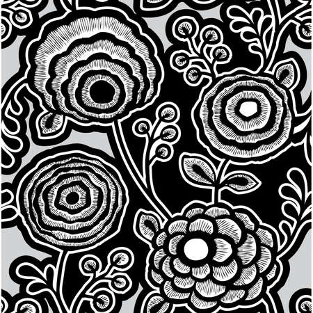 Elegance Seamless pattern with flowers, vector floral illustration in vintage style Stock Vector - 24938132