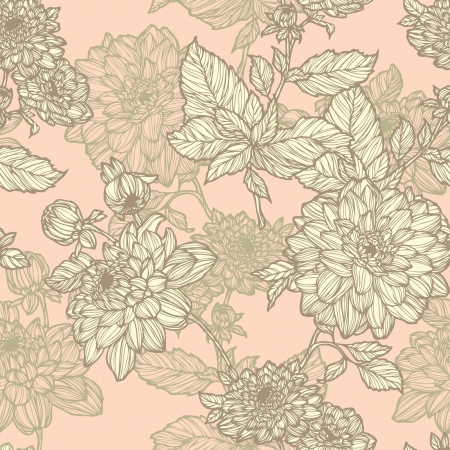 Elegance Seamless pattern with flowers, vector floral illustration in vintage style Stock Vector - 24924804