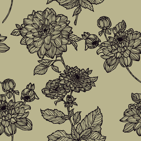 Elegance Seamless pattern with flowers, vector floral illustration in vintage style Stock Vector - 24924807
