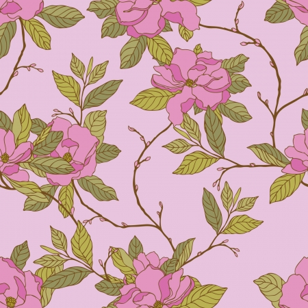 Elegance Seamless pattern with flowers magnolia, vector floral illustration in vintage style Vector