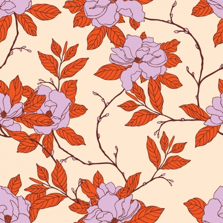 Elegance Seamless pattern with flowers magnolia, vector floral illustration in vintage style Stock Vector - 24929084