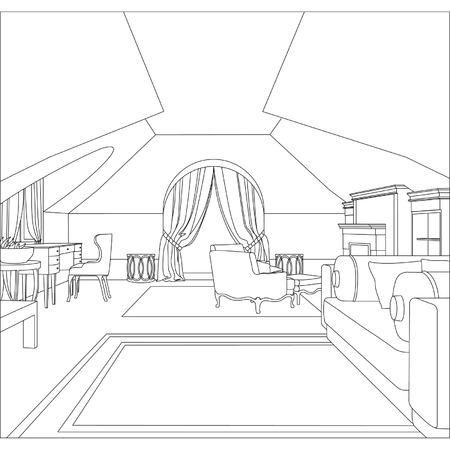 Illustrazione vettoriale modificabile di uno schizzo contorno di un disegno interior interior grafica 3D
