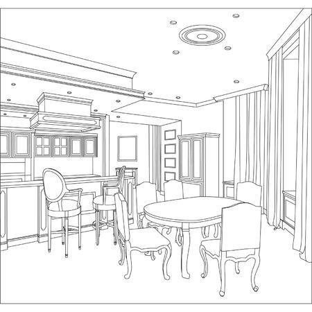 インテリアの 3 D グラフィック描画インテリアの輪郭スケッチの編集可能なベクトル イラスト