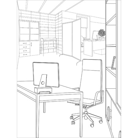 architectural drawings: Editable vector illustration of an outline sketch of a interior  3D Graphical drawing interior