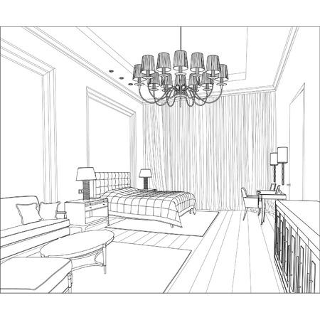 modern interieur: Bewerkbare vector illustratie van een schets van een interieur 3D grafische tekening interieur Stock Illustratie