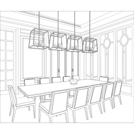 interior drawing: Editable vector illustration of an outline sketch of a interior  3D Graphical drawing interior