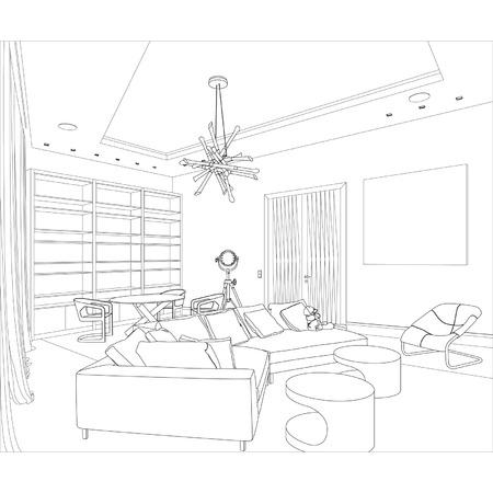 Bewerkbare vector illustratie van een schets van een interieur 3D grafische tekening interieur Stock Illustratie