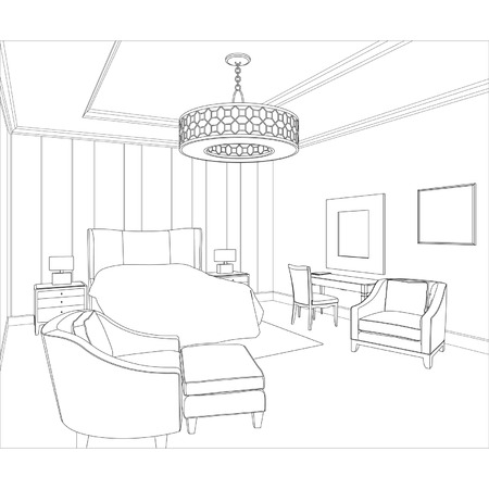 Editable vector illustration of an outline sketch of a interior  3D Graphical drawing interior