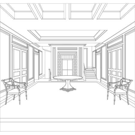 Bewerkbare vector illustratie van een schets van een interieur 3D grafische tekening interieur