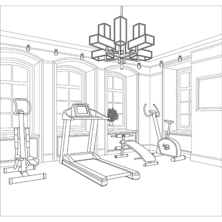 gym equipment: Editable vector illustration of an outline sketch of a interior  3D Graphical drawing interior