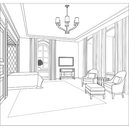 Editable vector illustration of an outline sketch of a interior  3D Graphical drawing interior Vector