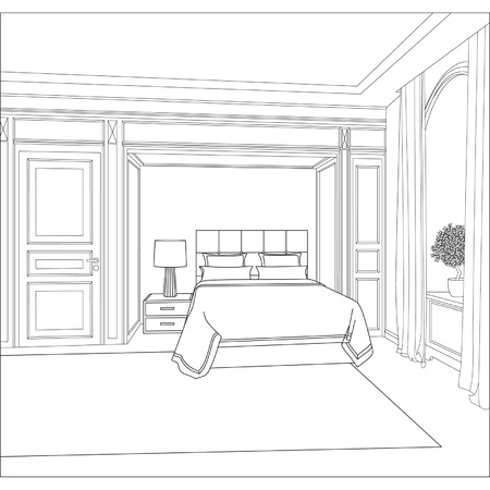 graphical: Editable vector illustration of an outline sketch of a interior  3D Graphical drawing interior