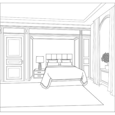 Illustrazione vettoriale modificabile di uno schizzo contorno di un disegno interior interior grafica 3D Archivio Fotografico - 24925037