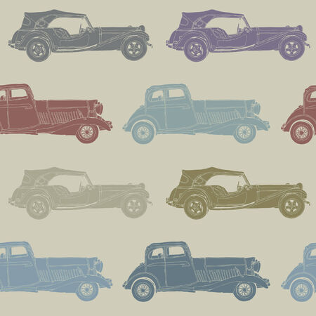 Elegance Seamless pattern with antique car, illustration in vintage style Vector