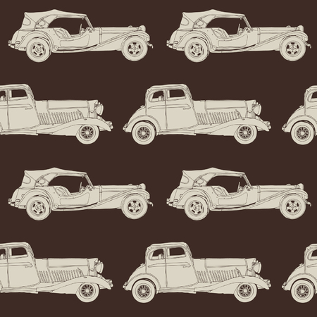 Elegance Seamless pattern with antique car, vector illustration in vintage style Vector