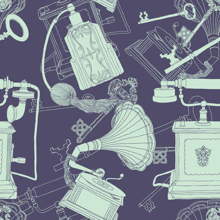 Vintage seamless pattern - illustration of antique objects Vector