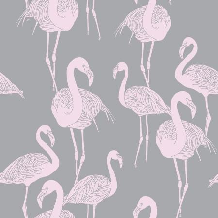ビンテージ スタイルのベクトル飾りイラスト鳥フラミンゴとエレガンスのシームレスなパターン  イラスト・ベクター素材