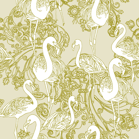 Elegance Seamless pattern with birds flamingo, vector ornament illustration in vintage style Stock Vector - 24960238