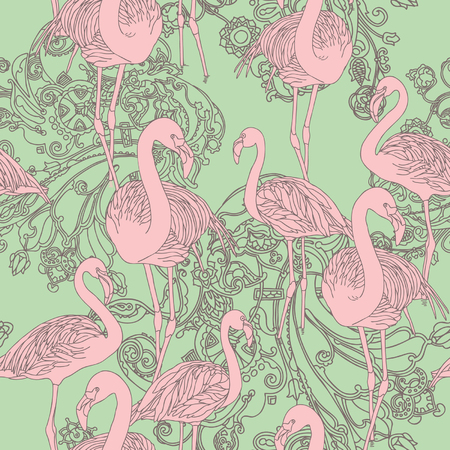 Elegance Seamless pattern with birds flamingo, vector ornament illustration in vintage style Vector
