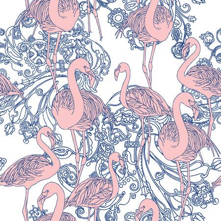 Elegance Seamless pattern con uccelli fenicottero, illustrazione vettoriale ornamento in stile vintage