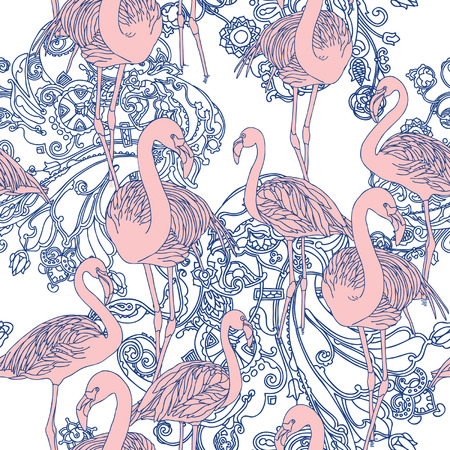 Elegance Seamless pattern with birds flamingo, vector ornament illustration in vintage style