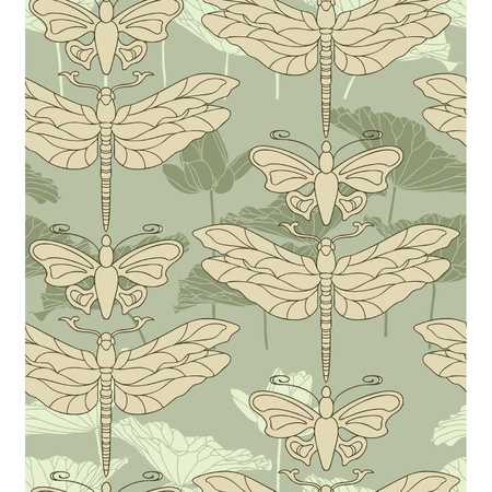 Elegance Seamless pattern with flowers lilies and butterflies, vector floral illustration in vintage style Vector