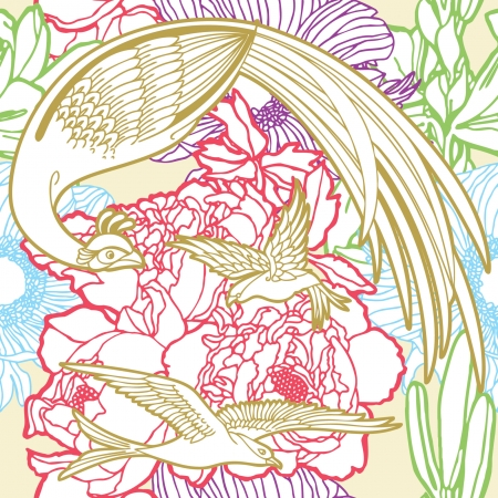 birds of paradise: Elegance Seamless pattern with flowers and birds of paradise, vector floral illustration in vintage style
