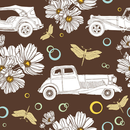 Elegance Seamless pattern with flowers, birds and dragonflies, vector floral illustration in vintage style Vector