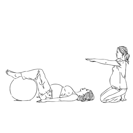 enceinte: Vector illustration of fitness silhouettes  fitness exercises